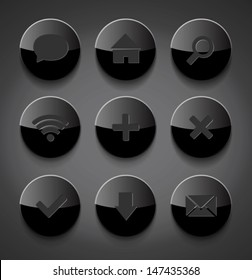 Vector black round glossy plastic icons collection