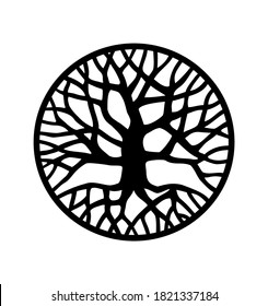 Vector black round tree with roots and branches outline silhouette drawing illustration in circle isolated on white background.Tree of Life.Family tree logo icon sign design.Tattoo.Sticker.Print .