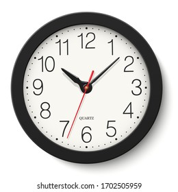 Vector black round wall clock isolated on white