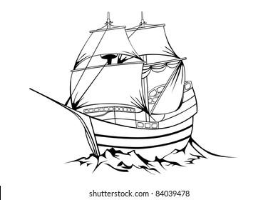 Vector black sailboat on white background