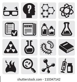 vector black science icon set on gray