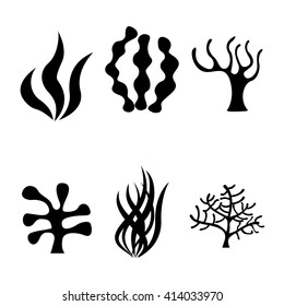 Vector black seaweed icons set on white background. Coral silhouettes