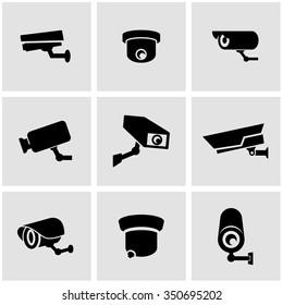 Vector black security camera icon set.