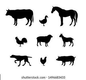 Vector black set bundle of domestic animals silhouette isolated on white background