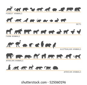 Vector black set of silhouettes pets, forest and farm animals. Icon african and australian animals.