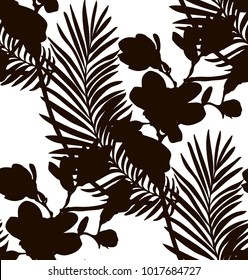 Vector Black Shape Decorative Seamless Background Pattern with Drawn Flowers, Branches. Hand Drawn Silhouettes. Vector Illustration with Pattern Swatch