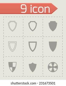 Vector black shield icon set on grey background