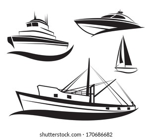 Vector black ship and boat icons set.