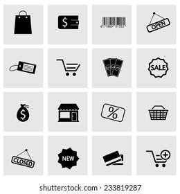 Vector black shop icons set on grey background