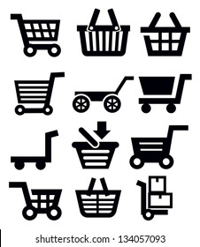 vector black shopping cart icon set on white