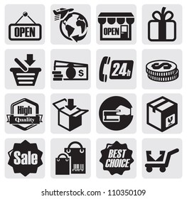 vector black shopping icons on gray background
