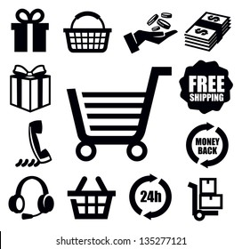 vector black shopping icons on white background