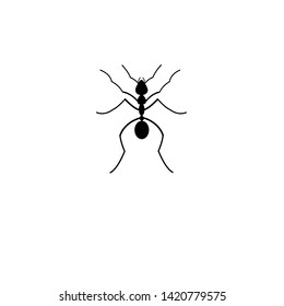 Vector black silhouette ant icon on white background