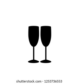 Vector black silhouette of couple of champagne or wine glasses on white background. Monochrome illustration of two champaign glasses. Cheers icon. Fragile or packaging glass symbol, sign, icons, clip