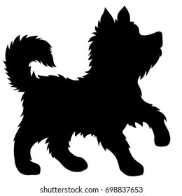 Vector black silhouette of cute puppy. Eskimo dog