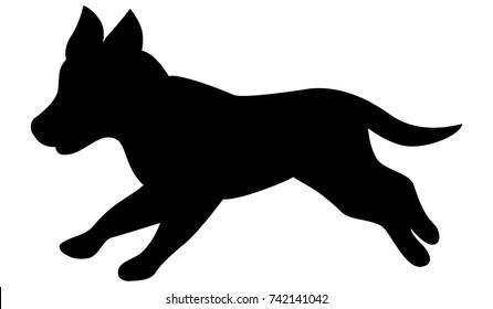 Vector black silhouette of cute running puppy. Labrador Retriever