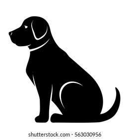 Vector Black Silhouette Of A Dog Isolated On White Background