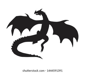 Vector black silhouette of dragon isolated on white background