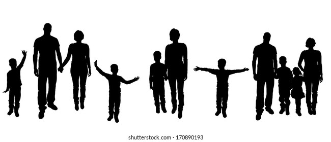 Vector black silhouette of family on white background