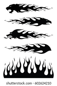 Vector black silhouette flame elements. Isolated background.