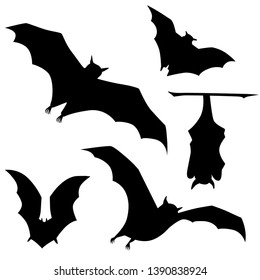 Vector black silhouette of flittermouse. Bat
