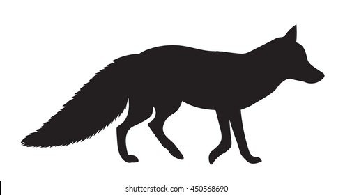 vector black silhouette of a fluffy Fox