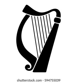Vector black silhouette of a harp isolated on a white background.