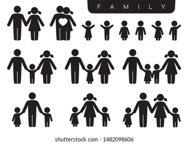 Vector black silhouette icon set family. Woman, man, partner, children, son, daughter. Isolated on white background.
