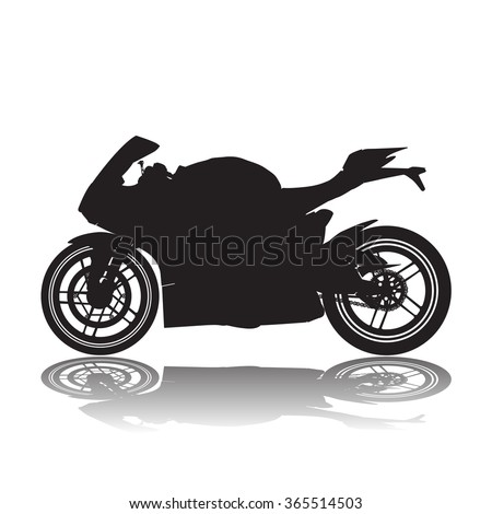 Vector Black Silhouette Image Racing Motorcycle Stock Vector