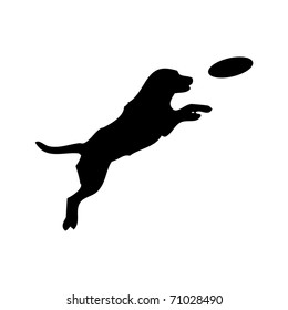 Vector black silhouette of jumping Dog and Frisbee