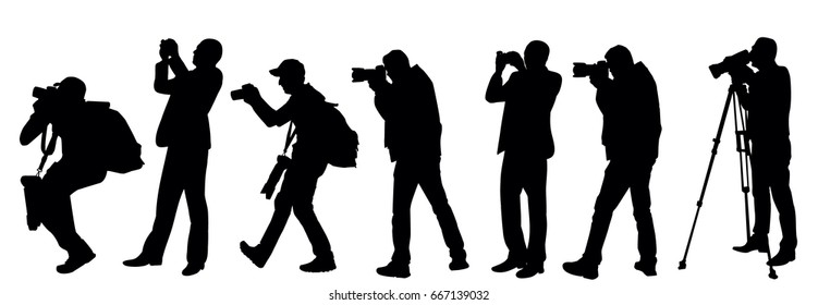 Vector, black silhouette man taking pictures, collection