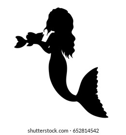 Vector black silhouette of mermaid. Mermaid clipart. Mermaid vector illustration.