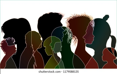 Vector black silhouette of multiracial people of different ages. Group of people different nationalities. Multiple exposure