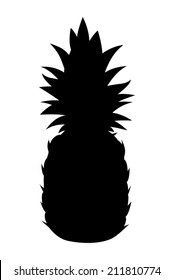 Vector black silhouette of pineapple isolated on a white background.