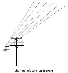 Vector Black  Silhouette of Power Line