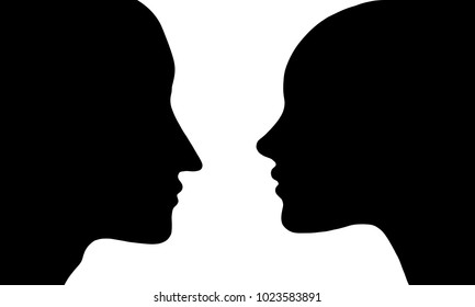vector black silhouette profile of man and woman at white background
