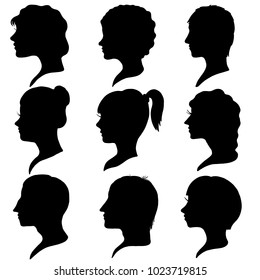 vector black silhouette profiles of men and women at white background