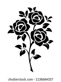 Vector black silhouette of roses isolated on a white background.