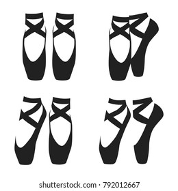 Vector black silhouette set of ballet shoes in classic positions isolated on white background