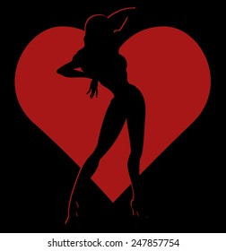 Vector black silhouette of sexy pin-up girl in red heart frame on black background, Valentine theme illustration