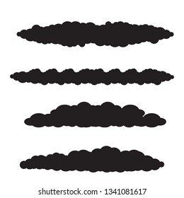 vector black silhouette summer clouds isolated isolated on white background. flat sky cloud icon collection