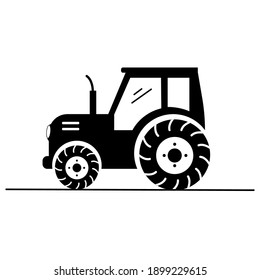 Vector black silhouette of a tractor. Isolated on white. Agriculture themed logo.