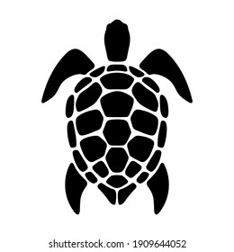 Vector black silhouette of a turtle isolated on a white background.