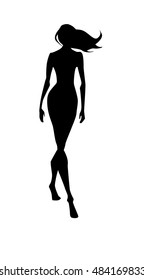 Vector black silhouette of walking woman with long hair