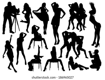 A lot of vector black silhouettes of beautiful girls