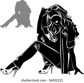 Vector black silhouettes of beautiful woman sitting on white background