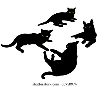 Vector black silhouettes of cats.
