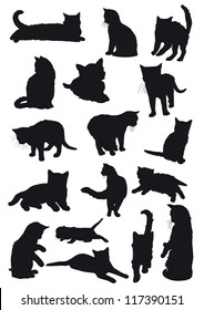 Vector black silhouettes drawing cats