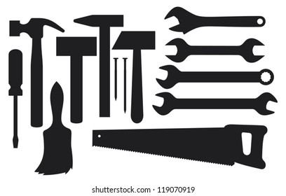 vector black silhouettes of hand tools (hammer, nail, wrench, screwdriver, handsaw, wrench tool or spanner, paint brush)