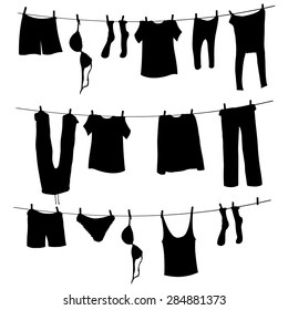 Vector Black Silhouettes of Laundry on a Rope